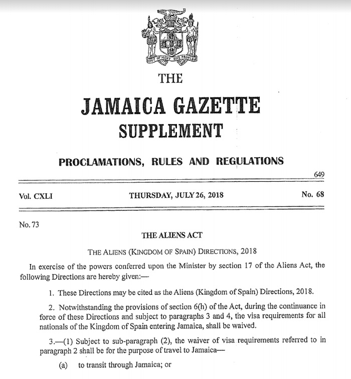 Prolamation rules and regulations jamaica gazete supplement